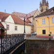 Stock Photo: Foreshortening view of historic center of Sibiu in Romania