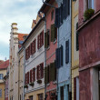 Foto Stock: Colorful facades in historical centre of Sibiu in Romania