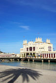 Liberty Building on the sea at Mondello beach of Palermo in Sici — Stock Photo