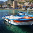 Fishing wooden boats at Mondello, Sicily — Stock Photo