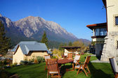 Mountain chalet with a beautiful panorama — Stok fotoğraf