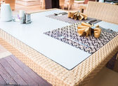 Oriental style dining table with traditional napkins — Stock Photo