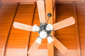 Close up beautiful hanging ceiling fan with glass lamps — Stock Photo