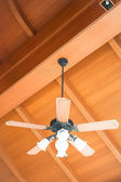 Beautiful hanging ceiling fan with glass lamps — Stock Photo
