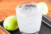 Close up fresh homemade iced lemon juice soda — Stock Photo