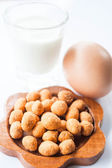 Spicy peanut, low fat milk and egg — Stock Photo