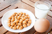 Protein nutrients of peanut ,milk and egg — Stock Photo