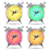 Colorful alarm clock isolated on white background — Cтоковый вектор