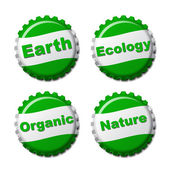 Set of earth bottle caps isolated on white background — Stock Vector
