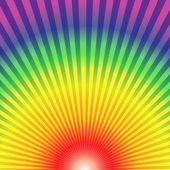 Rainbow radial rays bottom up abstract background — Stock Vector