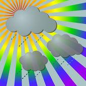 Regnigt i regnbågens strålar med moln — Stockvektor