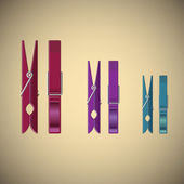 Clothes pin set on gradient background — Stock Vector