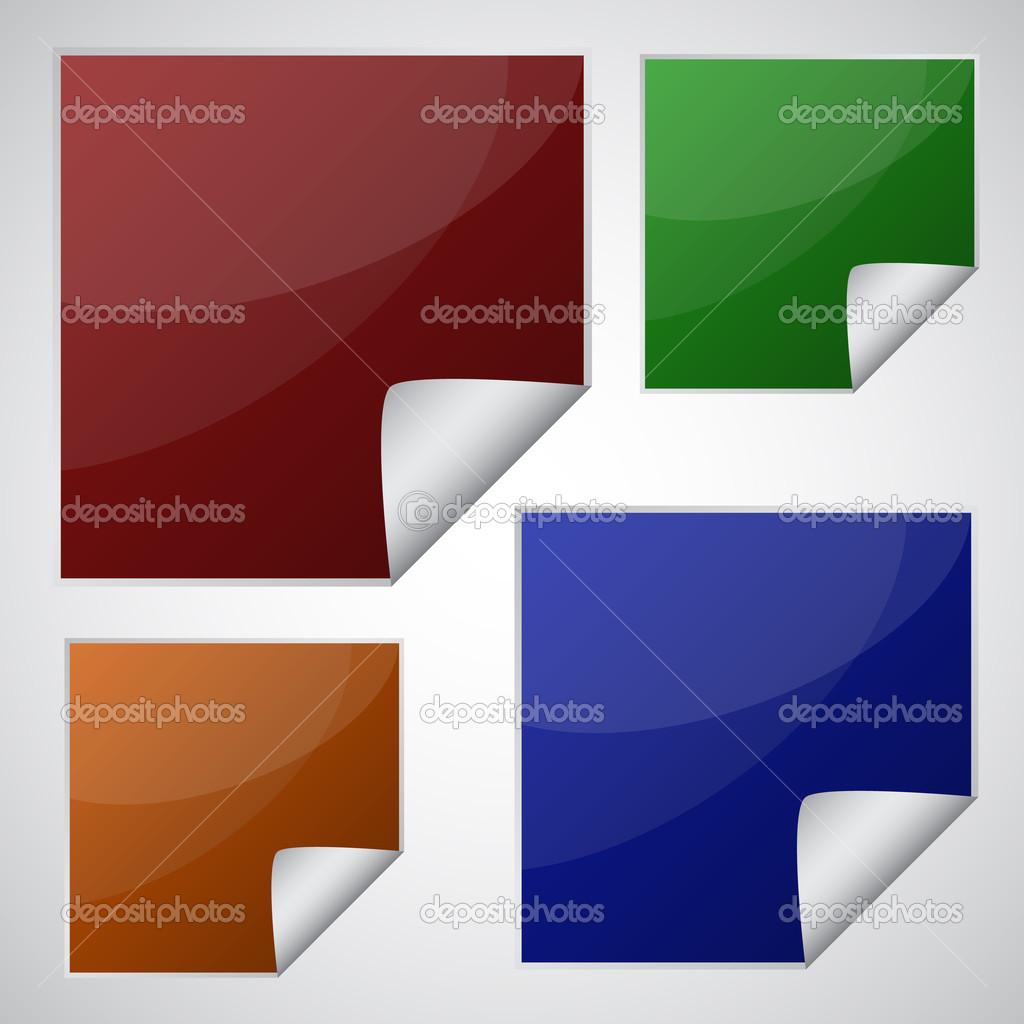 Set di adesivi quadrati colorati vettoriali stock for Piani domestici di 2000 piedi quadrati