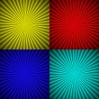 Set of colourful radial rays abstract background — Stock Vector