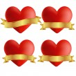 Set of heart icons with badges, vector illustration — Stock Vector