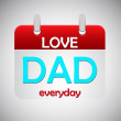 Stock Vector: Love dad everyday calendar icon