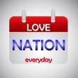 Love nation everyday calendar icon — Stock Vector