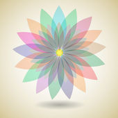 Colorful flower with shadow background — Stock Vector