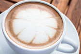 Hot cafe mocha cup with milk microfoam — Stock Photo