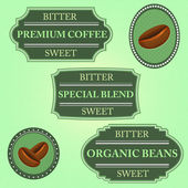 Set of bitter sweet coffee on green badge — Stok Vektör