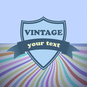 Shield retro vintage label on sunrays background — Stock vektor