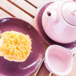 Sweet break set of hot tea and cup cake — Stock Photo #29502375