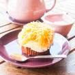 Break set of hot white tea and cup cake — Stock Photo #29502445