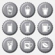 Coffee cup icon on bottle caps set — Stock Vector #30476695