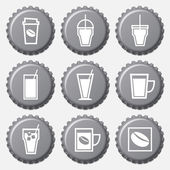 Coffee cup icon on bottle caps set — Stock Vector