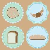 Set of homemade bakery icon color badges — Stock Vector