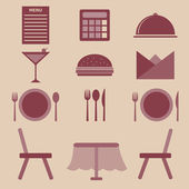 Set of restaurant color icons — Stock Vector