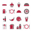 Stock Vector: Food red icons set on white background