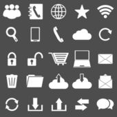 Communication icons on gray background — Stock Vector