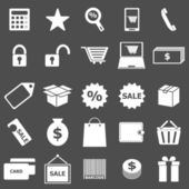 Shopping icons on gray background — Stock Vector