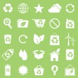Ecology icons on green background — Stock Vector