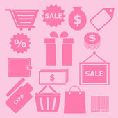 Set of shopping icons on pink background — Stock Vector