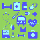 Set of health icons on green background — Stock Vector