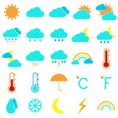Weather and climate color icons on white background — Stock Vector