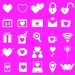 Love icons on pink background — Stock Vector