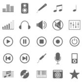 Music icons on white background — Stock Vector