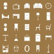 Stock Vector: Furniture icons on brown background