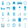 Stock Vector: Furniture color icons on white background