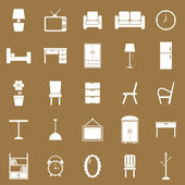 Furniture icons on brown background — Stock Vector