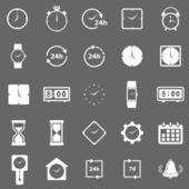 Time icons on gray background — Stok Vektör