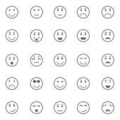 Circle face icons on white background — Vetor de Stock