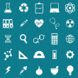 Science icons on blue background — Stock Vector