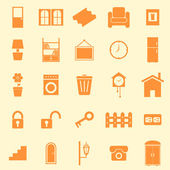 House related color icons on orange background — Stock Vector