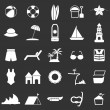 Beach icons on black background — Stock Vector