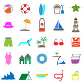 Beach color icons on white background — Stock Vector