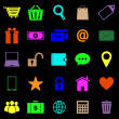 Stock Vector: Ecommerce color icons on black background